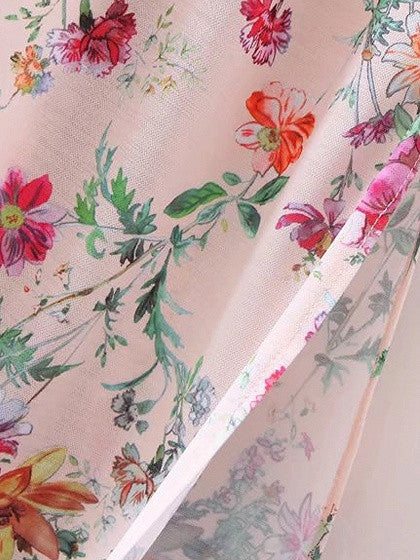 Polychrome Floral Stretch Off Shoulder Maxi Dress