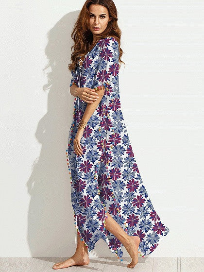 Polychrome Lace Up Leaf Print Pom Poms Side Split Maxi Beach Dress
