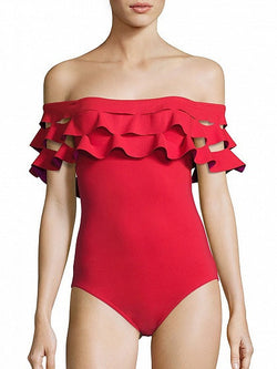 Red Off Shoulder Slit Ruffle Swimsuit