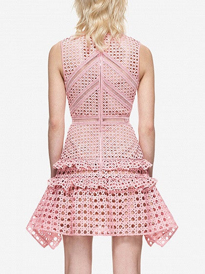 Pink Sheer Trim Frill Lace Sleeveless Mini Dress