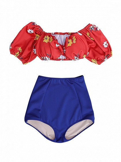 Red-Blue Bikini Floral Print Knot Front High Waist
