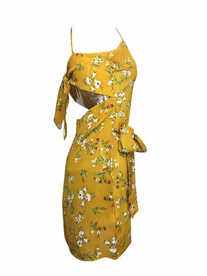 Yellow Floral Print Bow Tie Cut Out Back Spaghetti Strap Mini Dress