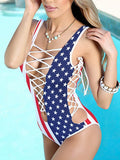 Polychrome American Flag Print Lace Up Plunge Swimsuit