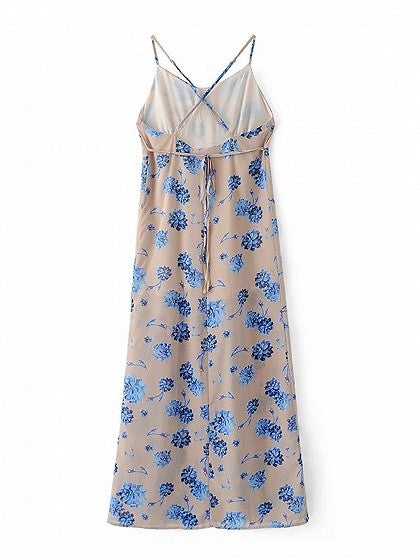 Polychrome V-neck Floral Strap Backless Side Split Maxi Beach Dress