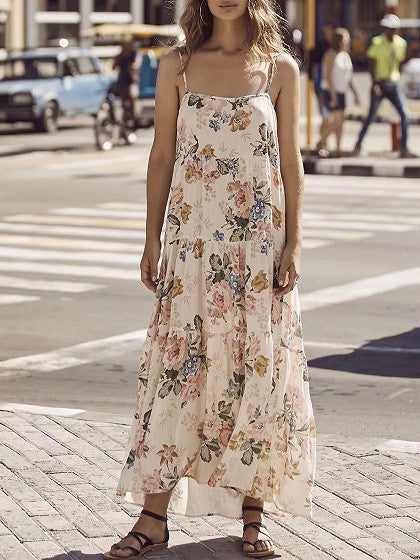 Polychrome Floral Spaghetti Strap Maxi Dress