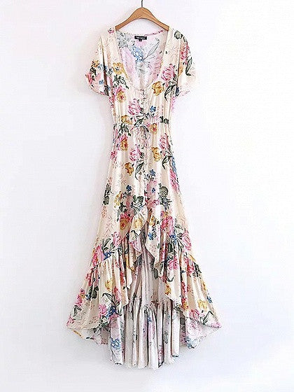 Polychrome V-neck Floral Tie Waist Ruffle Trim Dipped Hem Maxi Dress