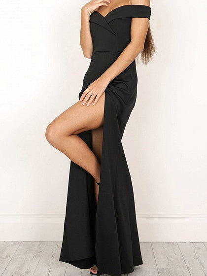 Black Off Shoulder Folded Sweetheart Split Maxi Dress