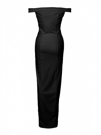 Black Maxi Dress Off Shoulder Folded Sweetheart Split