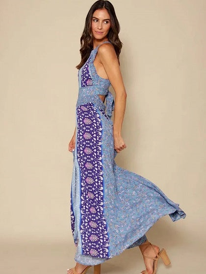 Blue Halter Paisley Print Tied Strappy Back Split Maxi Dress