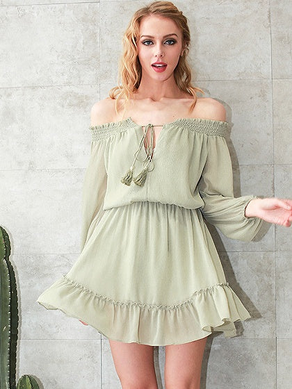 Green Mini Dress Off Shoulder Tie Front Blouson Sleeve Ruffle Hem