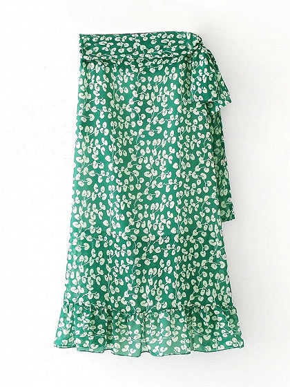 Green Floral High Waist Tie Side Ruffle Trim Midi Wrap Maxi Skirt
