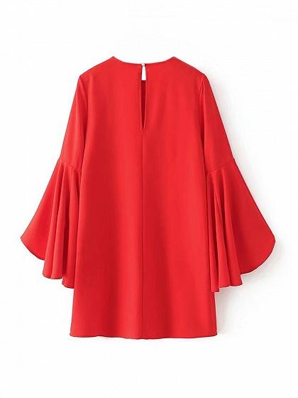 Red Flare Sleeve Shift Mini Dress