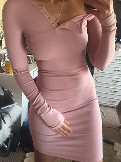 Pink One Shoulder Long Sleeve Ribbed Bodycon Dress