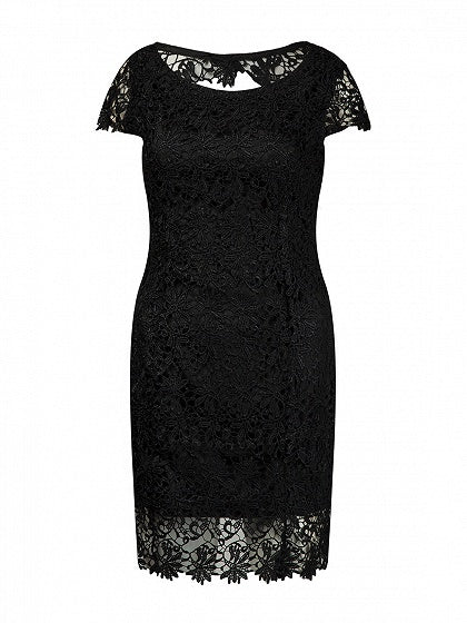 Black Cut Out Back Lace Bodycon Dress