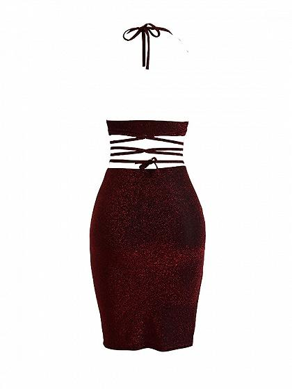 Red V-neck Halter Strap Cross Sparkle Bodycon Dress