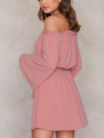 Pink Off Shoulder Long sleeve Mini Dress