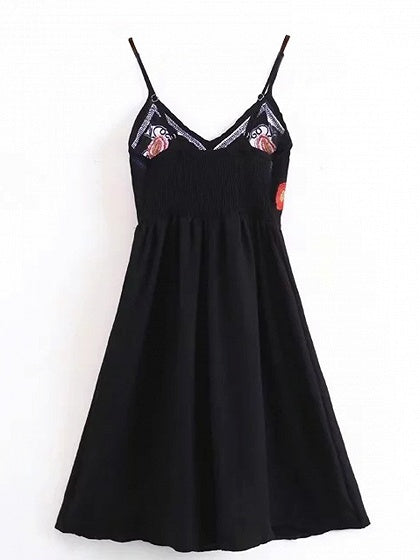Black V-neck Embroidery Cami Mini Dress