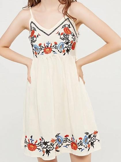 White Cami Mini Dress V-neck Embroidery