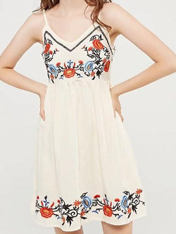 White V-neck Embroidery Cami Mini Dress