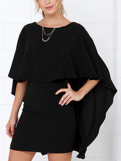 Black Cape Overlay V Back Mini Dress