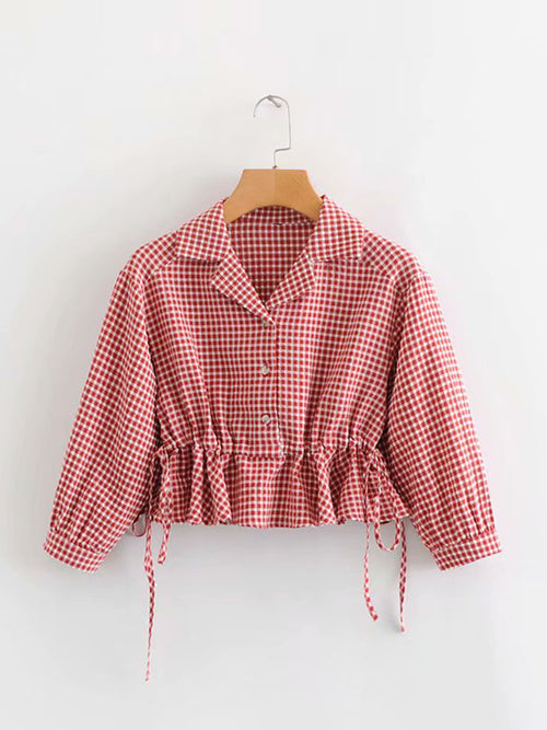 Red Women Blouse Plaid Lapel Drawstring Waist Long Sleeve