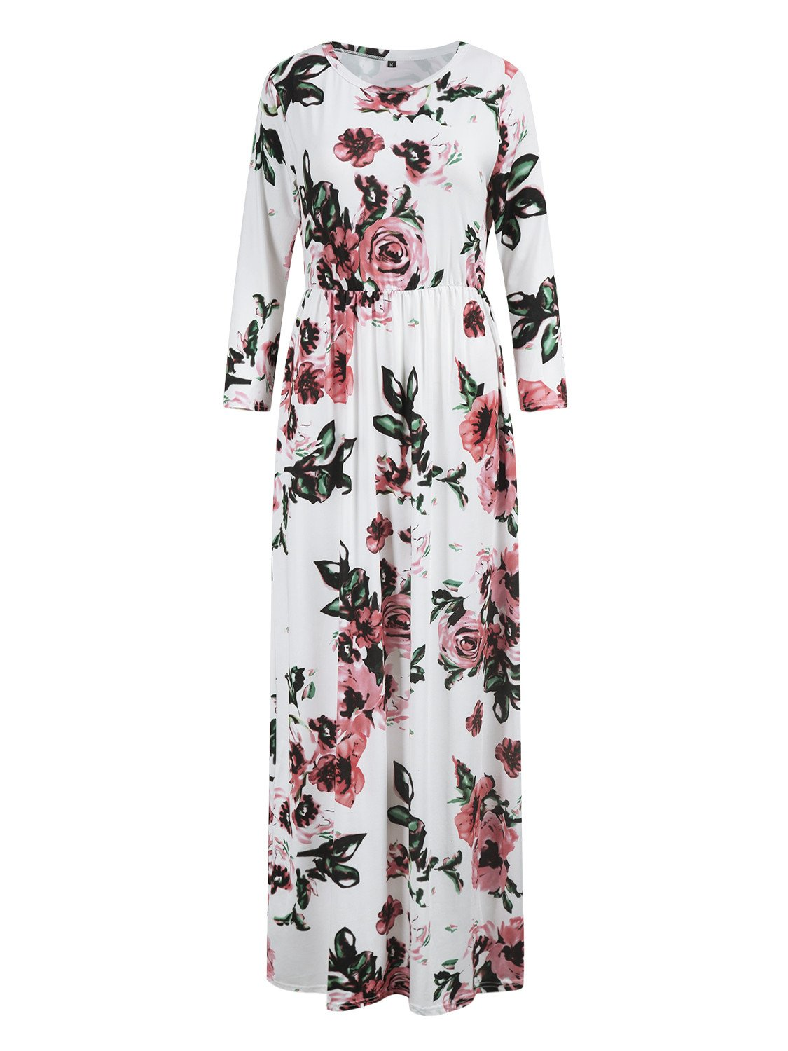 White Floral Long Sleeve Maxi Dress