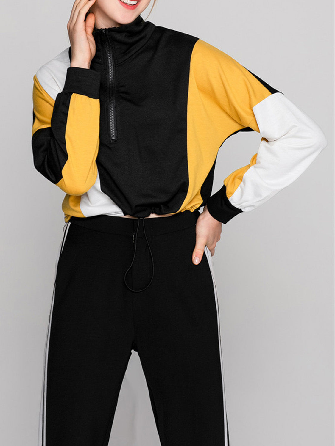 Yellow Women Sweatshirt Contrast High Neck Long Sleeve