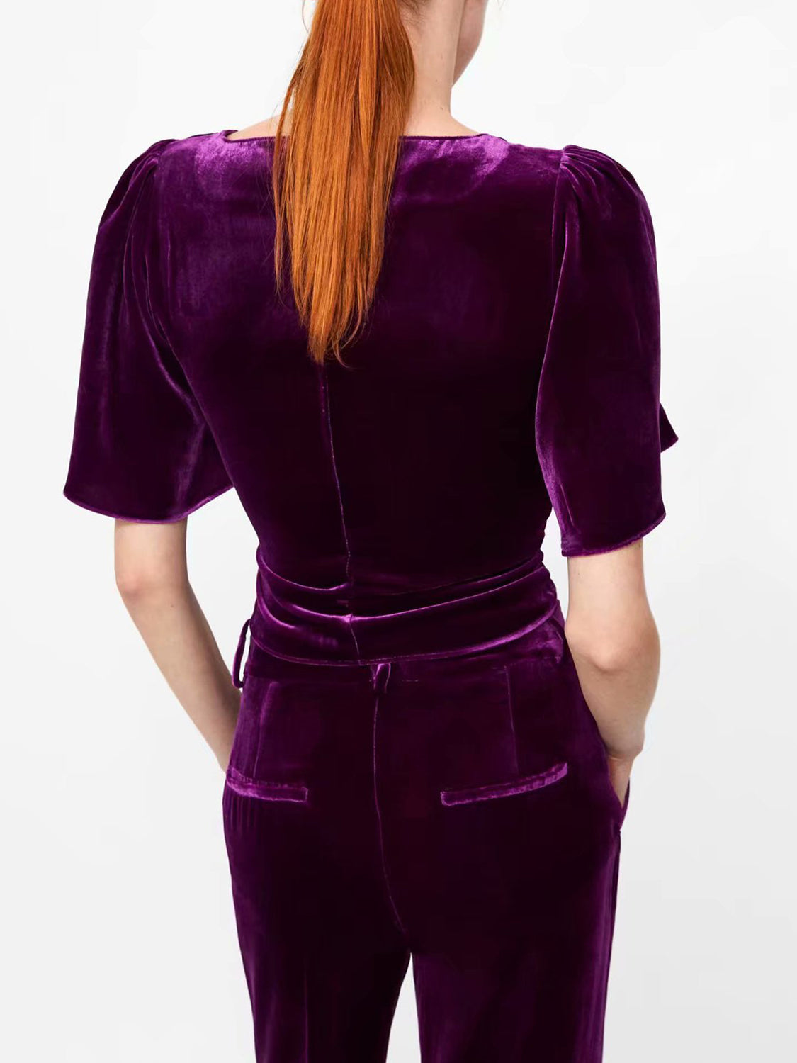 Purple Women Crop Top Velvet V-neck Tie Front Flare Sleeve