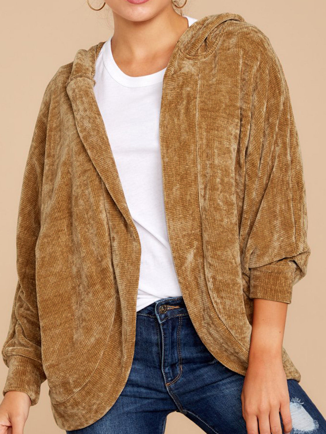 Khaki Women Corduroy Hooded Coat Open Front Long Sleeve
