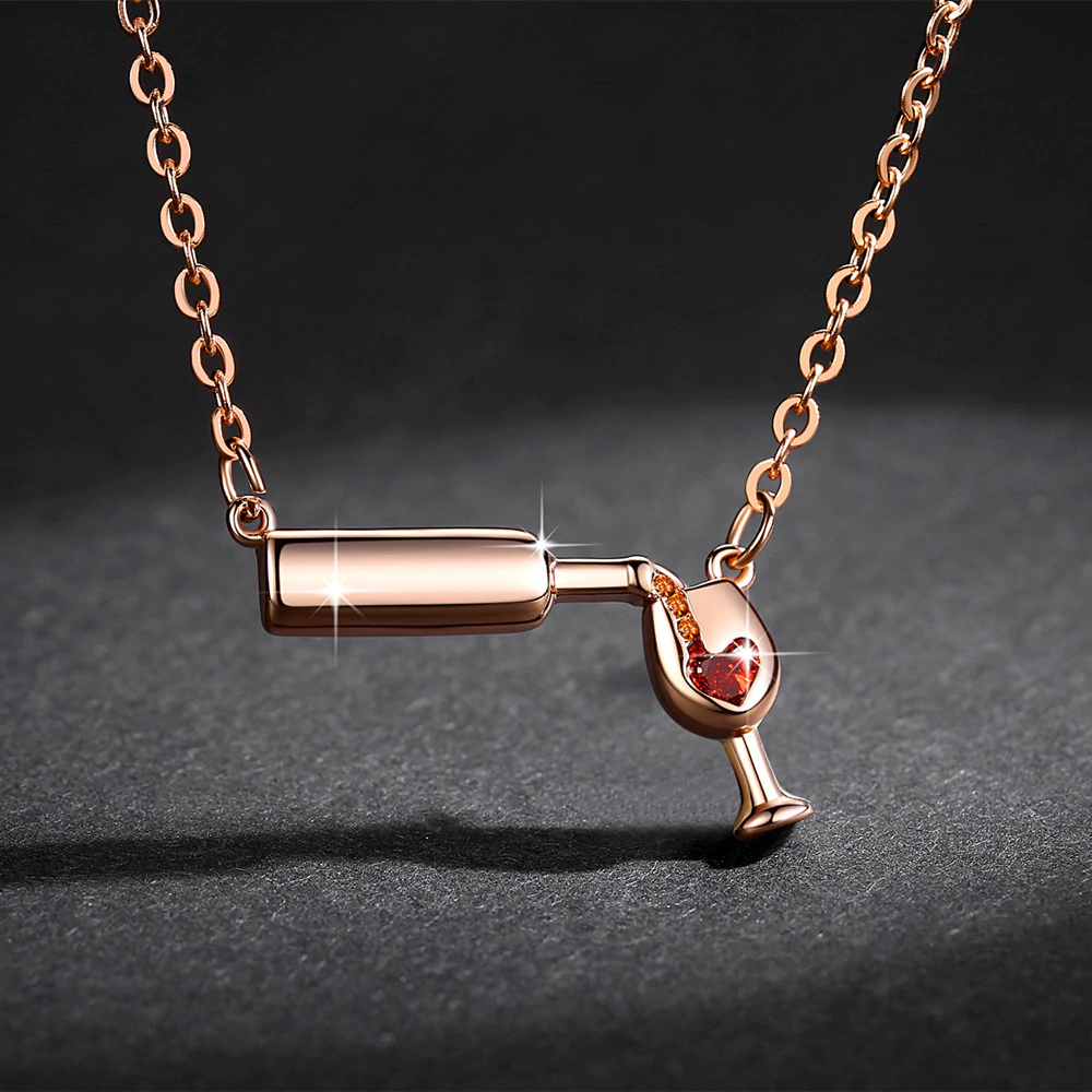 High Quality 3D Bottle Glass Wine & Cup Necklace ( BUY 1 $19.99 USD, BUY 2 ONLY $29.99 USD )