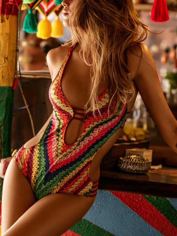Multicolor Print Deep V Neck Lace Up Swimsuit