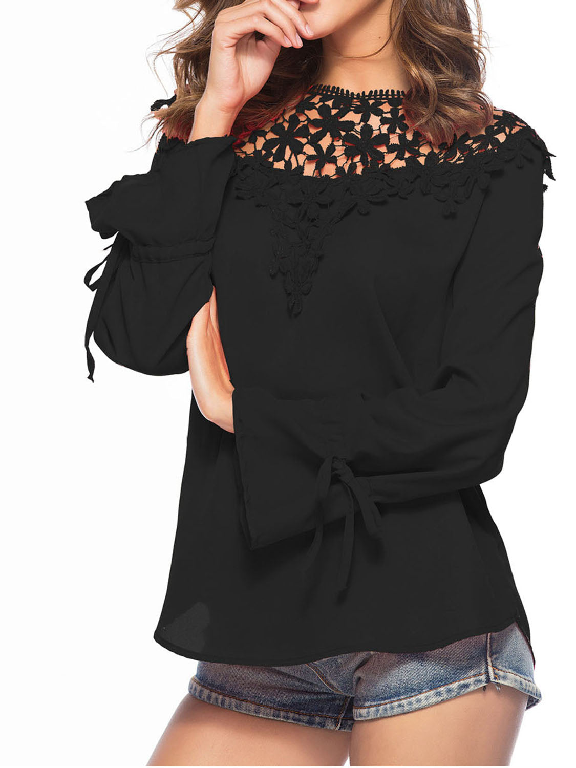 Black Chiffon Cut Out Detail Lace Panel Long Sleeve Women Blouse