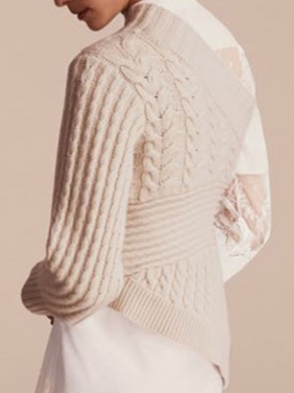 Beige Women Knit Sweater Asymmetric Neck Long Sleeve
