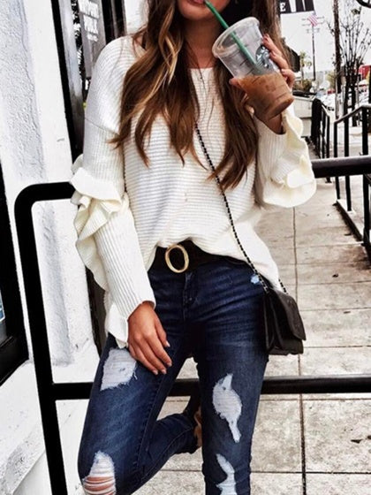 White Women Sweater Crew Neck Ruffle Trim Long Sleeve