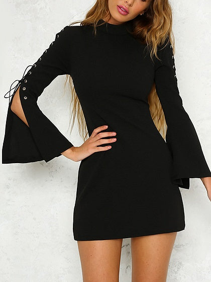 Black Lace Up Detail Flare Sleeve Mini Dress
