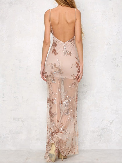 Gold Plunge Spaghetti Strap Side Split Sheer Maxi Dress