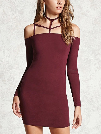 Burgundy Halter Cold Shoulder Long Sleeve Bodycon Mini Dress