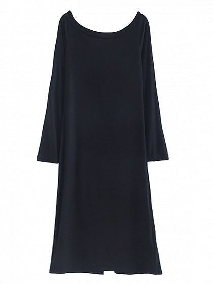 Black Off Shoulder Button Front Long Sleeve Knit Dress
