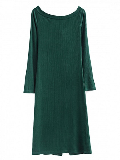 Army Green Off Shoulder Button Front Long Sleeve Knit Dress