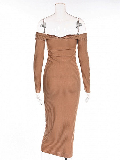 Khaki Off Shoulder Long Sleeve Rib Bodycon Midi Dress