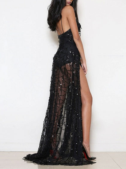 Black Plunge Spaghetti Strap Thigh Split Sequin Detail Dress
