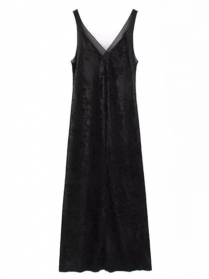 Black Velvet V-neck Thigh Split Front Open Back Dress