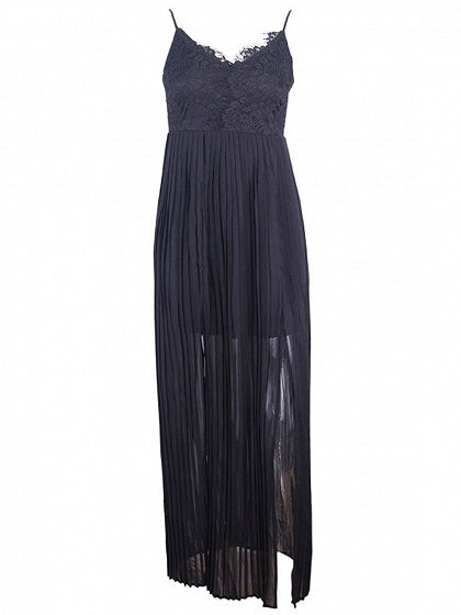 Black Spaghetti Strap Plunge Lace Panel Thigh Split Maxi Dress