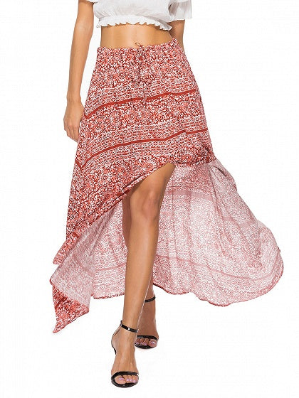 Red High Waist Print Detail Thigh Split Maxi Skirt