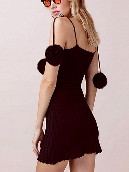 Black Spaghetti Strap Pom Pom Detail Mini Dress