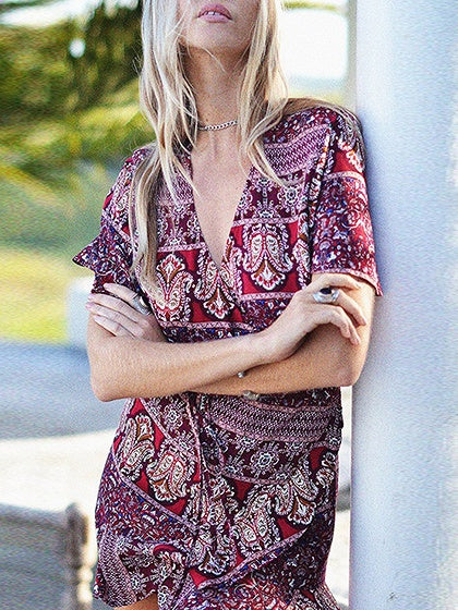 Purple Wrap Front Tie Waist Print Detail Mini Dress