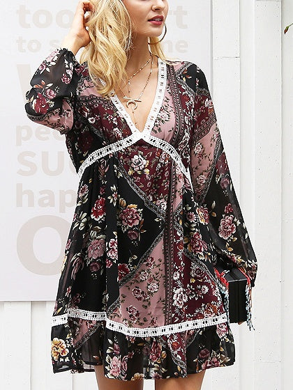 Polychrome V-neck Print Detail Long Sleeve Mini Dress