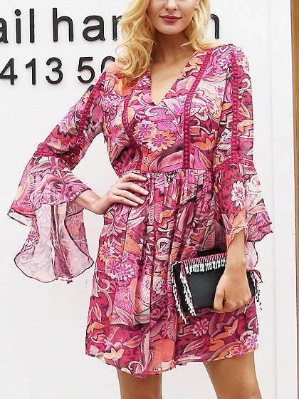 Hot Pink V-neck Print Detail Flare Sleeve Mini Dress
