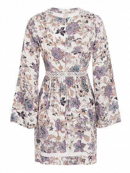Polychrome V-neck Floral Print Cut Out Detail Mini Dress