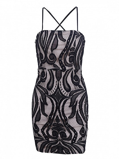 Black Spaghetti Strap Open Back Lace Mini Dress